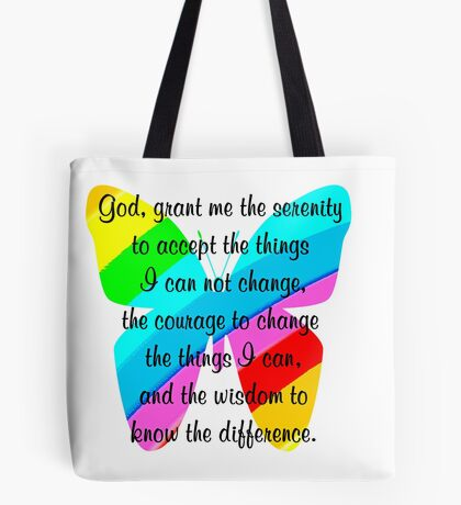 BEAUTIFUL BUTTERFLY SERENITY PRAYER Tote Bag