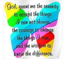 BEAUTIFUL BUTTERFLY SERENITY PRAYER Poster