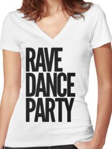 Rave Dance Party (black) Women's Fitted V-Neck T-Shirt