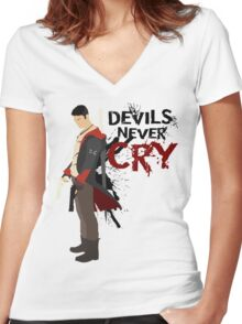 Devils Never Cry Women's Fitted V-Neck T-Shirt