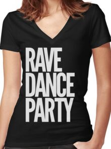 Rave Dance Party Women's Fitted V-Neck T-Shirt