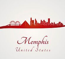 Memphis skyline in red by paulrommer
