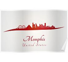 Memphis skyline in red Poster