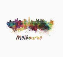 Melbourne skyline in watercolor One Piece - Short Sleeve