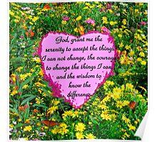 YELLOW WILDFLOWER SERENITY PRAYER Poster