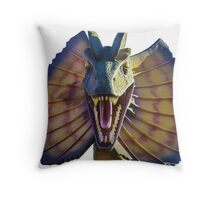 dilophosaurus, dinosaur Throw Pillow