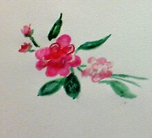 Red roses, watercolor by Anna  Lewis