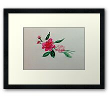 Red roses, watercolor Framed Print
