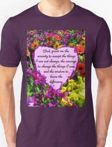 PURPLE WILD FLOWER SERENITY PRAYER PHOTO Unisex T-Shirt