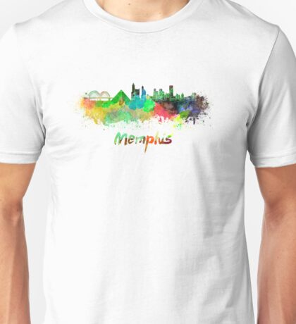 Memphis skyline in watercolor Unisex T-Shirt