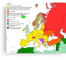 XXIst century European and surroundings map Canvas Print