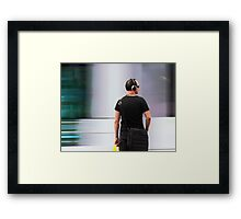 Commuter At Tram Stop Framed Print