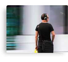 Commuter At Tram Stop Canvas Print