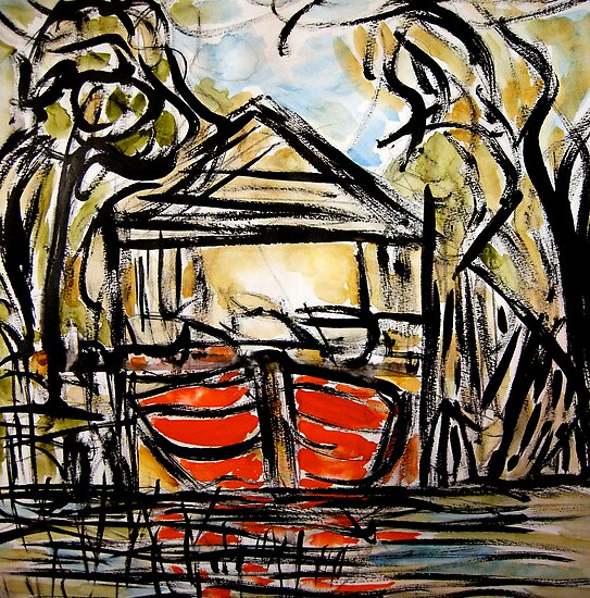 little red boat house.... lake of dreams by banrai