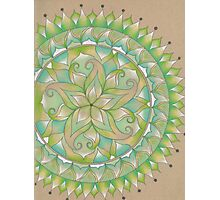 Green Flower Mandala Photographic Print