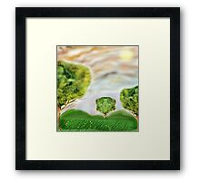 Three crazily similar Trees in a Meadow Framed Print