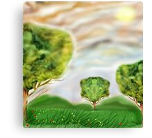 Three crazily similar Trees in a Meadow Canvas Print