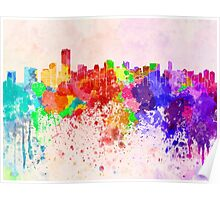 Miami skyline in watercolor background Poster