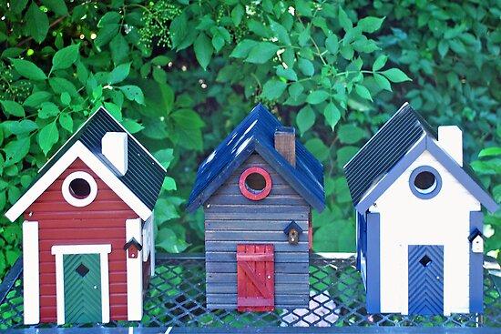Street with birdhouses by Arie Koene