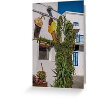 Typical Greek coffee shop  Mandraki town Nisyros Island  Aegean Sea Greeting Card