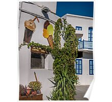 Typical Greek coffee shop  Mandraki town Nisyros Island  Aegean Sea Poster