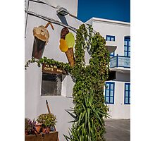 Typical Greek coffee shop  Mandraki town Nisyros Island  Aegean Sea Photographic Print