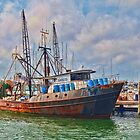 Ships At Dock by Val Dunn
