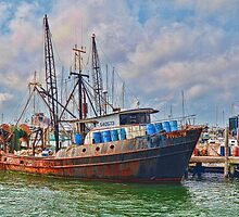 Ships At Dock by Val Dunn