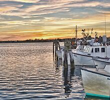 Sunset at the Fishing Port by Val Dunn