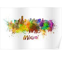 Miami skyline in watercolor Poster