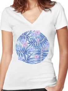 Tropical pattern Women's Fitted V-Neck T-Shirt