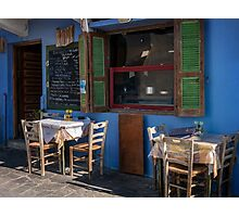 Image of a Typical local restaurant on a Greek Island Photographic Print