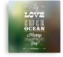 Happy Valentine's Day Hand Lettering - Typographical Background Canvas Print
