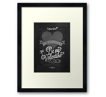 Happy Valentine's Day Hand Lettering - Typographical Background On Blackboard Framed Print