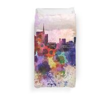 Milan skyline in watercolor background Duvet Cover