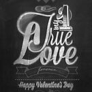 Happy Valentine&#x27;s Day Hand Lettering - Typographical Background On Blackboard by csecsi
