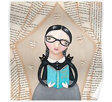 The Reader Girl with Cats Poster