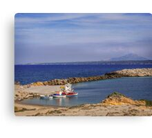 Typical Greek local greek harbour Nisyros Island  Aegean Sea Canvas Print