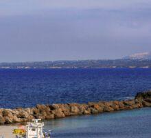 Typical Greek local greek harbour Nisyros Island  Aegean Sea Sticker
