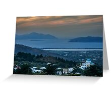 Sunset from Zia Kos to the  Aegean Sea Greeting Card