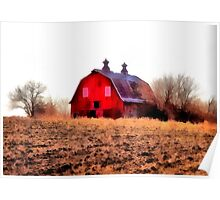 Red Barn On The Hill Poster