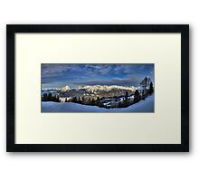 Snowy Mountains all around Framed Print