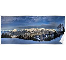 Snowy Mountains all around Poster