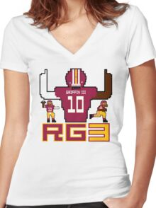 RG3 Tecmo style! Women's Fitted V-Neck T-Shirt
