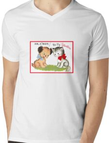 be my valentine day cute puppy and kitten vintage  Mens V-Neck T-Shirt