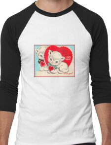 cute kitten vintage be my valentine tee  Men's Baseball ¾ T-Shirt