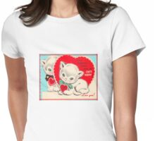 cute kitten vintage be my valentine tee  Womens Fitted T-Shirt