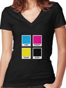 CMYK 12 Women's Fitted V-Neck T-Shirt
