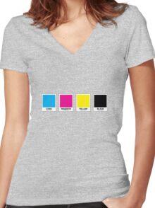 CMYK 13 Women's Fitted V-Neck T-Shirt