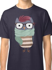 Hipster Owl Transparent Background Classic T-Shirt